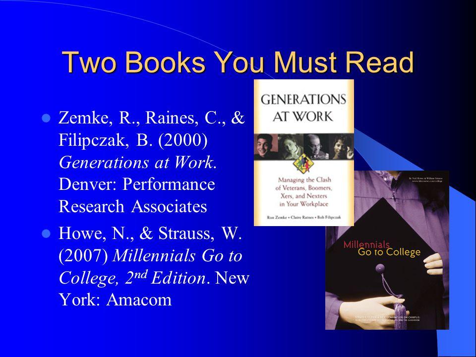 Two Books You Must Read Zemke, R., Raines, C., & Filipczak, B.