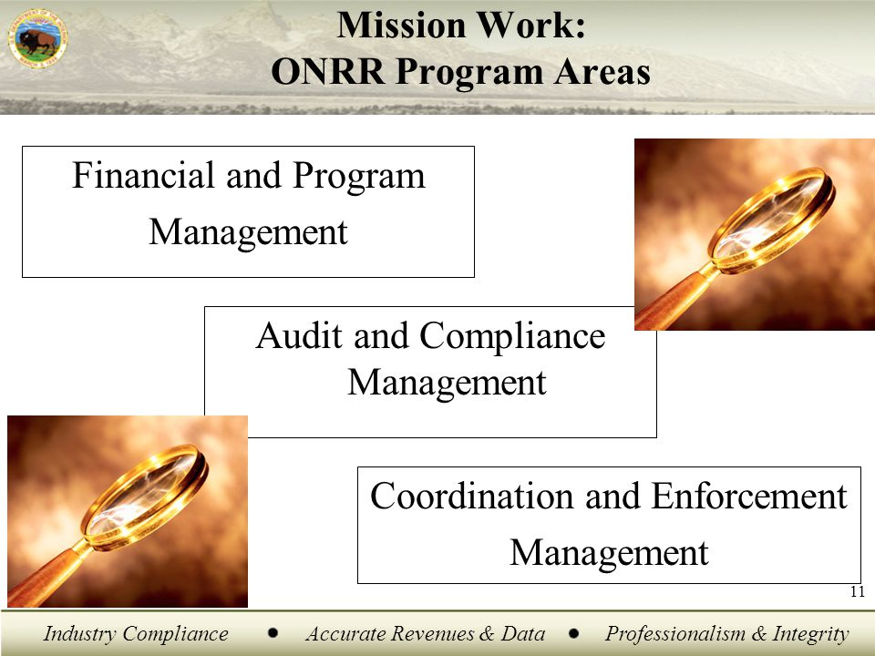 Industry ComplianceAccurate Revenues & DataProfessionalism & Integrity 11 Mission Work: ONRR Program Areas Financial and Program Management Audit and Compliance Management Coordination and Enforcement Management