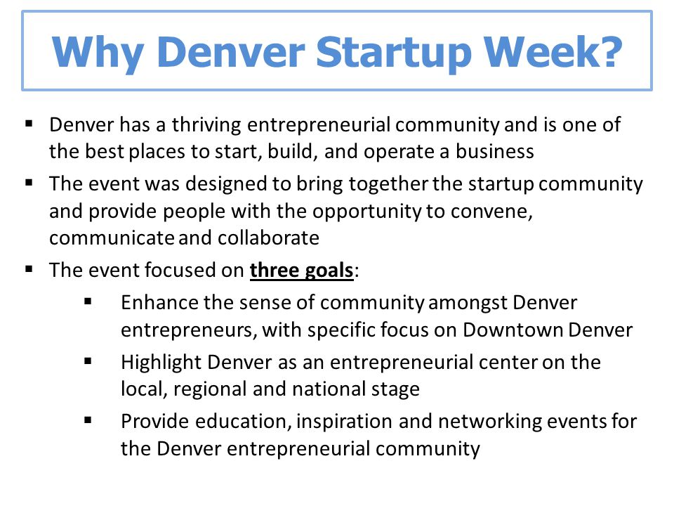 Why Denver Startup Week.
