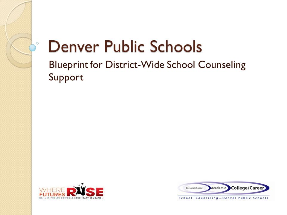 Denver Public Schools Blueprint for District-Wide School Counseling Support