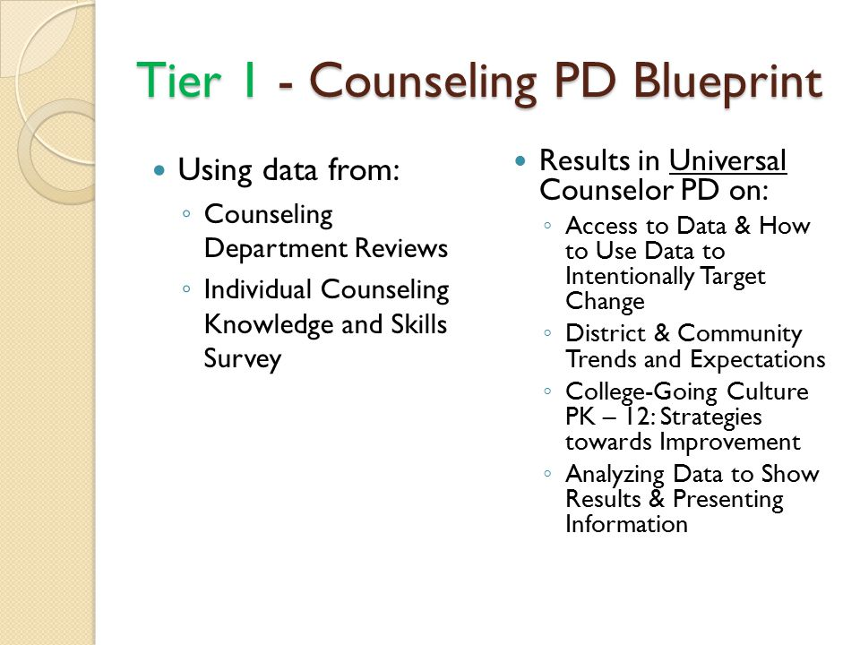 Tier 1 - Counseling PD Blueprint Using data from: ◦ Counseling Department Reviews ◦ Individual Counseling Knowledge and Skills Survey Results in Universal Counselor PD on: ◦ Access to Data & How to Use Data to Intentionally Target Change ◦ District & Community Trends and Expectations ◦ College-Going Culture PK – 12: Strategies towards Improvement ◦ Analyzing Data to Show Results & Presenting Information