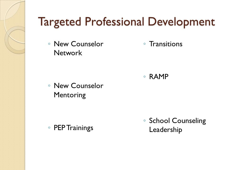 Targeted Professional Development ◦ New Counselor Network ◦ New Counselor Mentoring ◦ PEP Trainings ◦ Transitions ◦ RAMP ◦ School Counseling Leadership