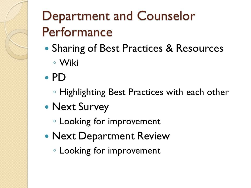 Department and Counselor Performance Sharing of Best Practices & Resources ◦ Wiki PD ◦ Highlighting Best Practices with each other Next Survey ◦ Looki