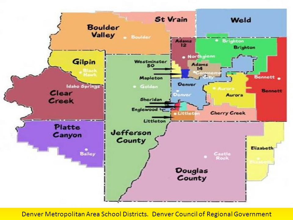 Denver Metropolitan Area School Districts. Denver Council of Regional Government