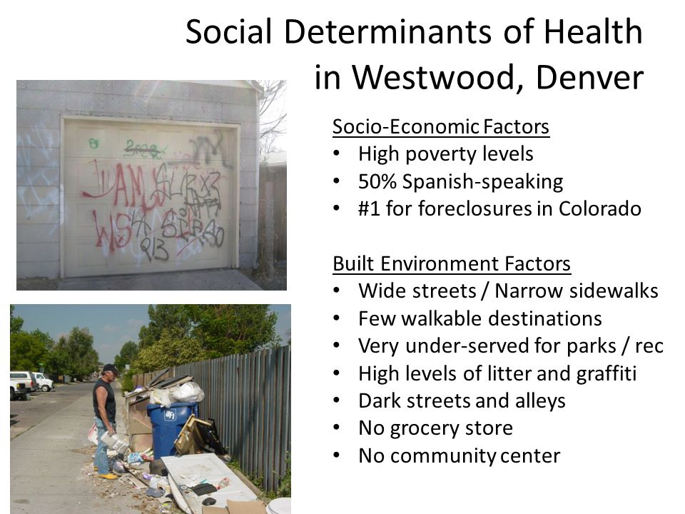Social Determinants of Health in Westwood, Denver Socio-Economic Factors High poverty levels 50% Spanish-speaking #1 for foreclosures in Colorado Buil