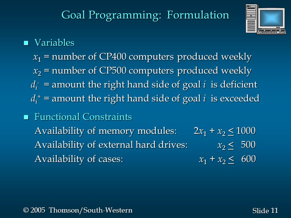 11 Slide © 2005 Thomson/South-Western n Variables x 1 = number of CP400 computers produced weekly x 1 = number of CP400 computers produced weekly x 2 = number of CP500 computers produced weekly x 2 = number of CP500 computers produced weekly d i - = amount the right hand side of goal i is deficient d i - = amount the right hand side of goal i is deficient d i + = amount the right hand side of goal i is exceeded d i + = amount the right hand side of goal i is exceeded n Functional Constraints Availability of memory modules: 2 x 1 + x 2 < 1000 Availability of external hard drives: x 2 < 500 Availability of cases: x 1 + x 2 < 600 Goal Programming: Formulation
