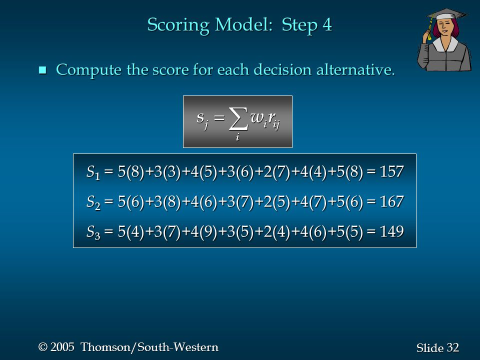 32 Slide © 2005 Thomson/South-Western n Compute the score for each decision alternative.