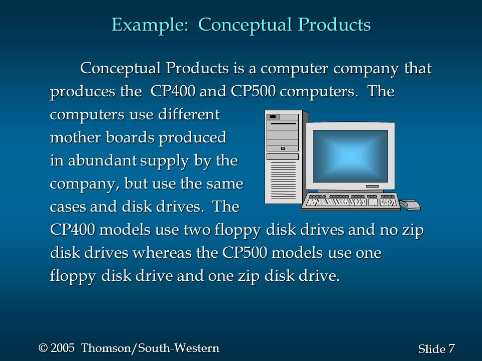 7 7 Slide © 2005 Thomson/South-Western Example: Conceptual Products Conceptual Products is a computer company that produces the CP400 and CP500 computers.