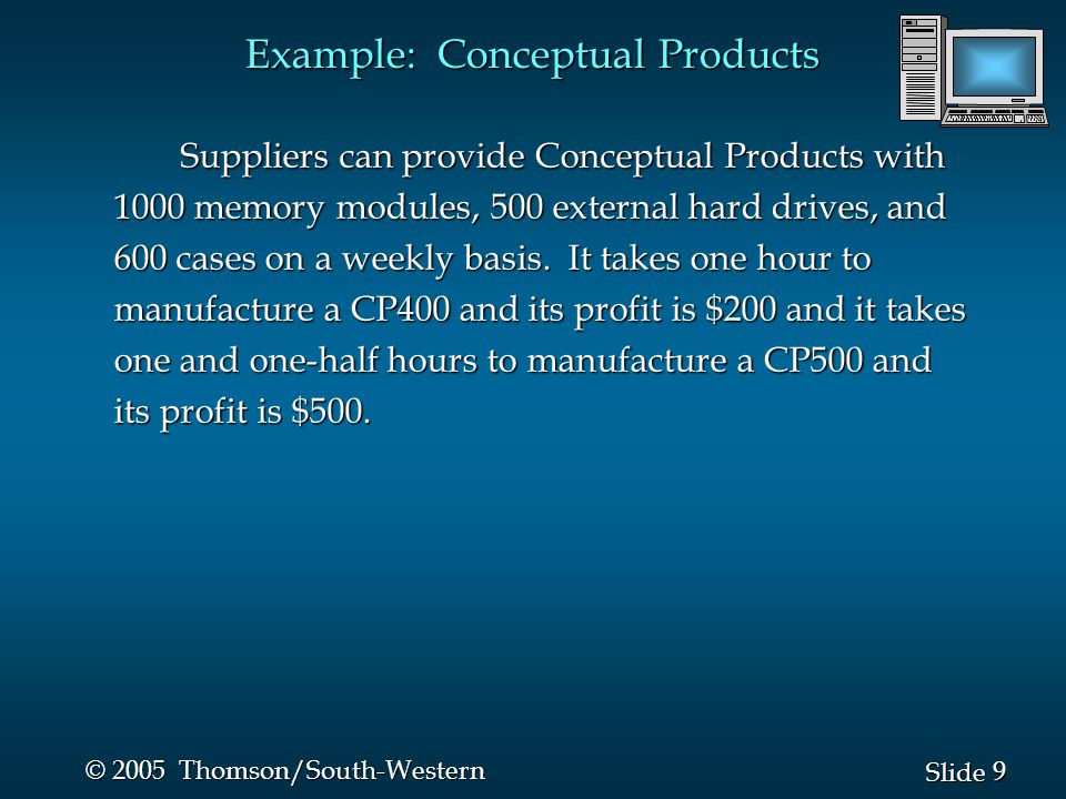 10 Slide © 2005 Thomson/South-Western Example: Conceptual Products The company has four goals: The company has four goals: Priority 1: Meet a state contract of 200 CP400 machines weekly.