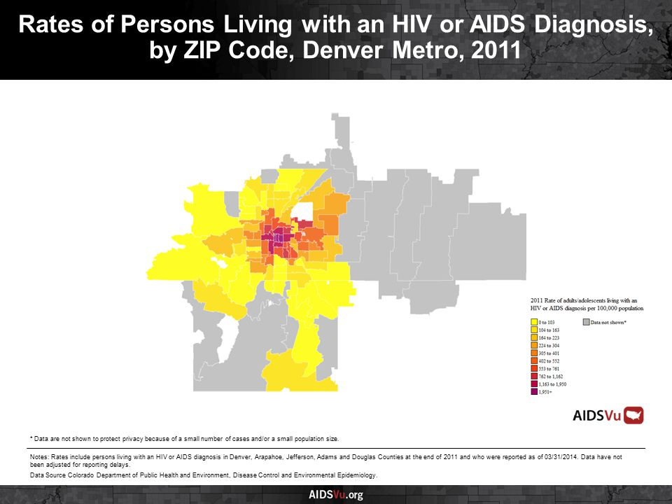 Rates of Persons Living with an HIV or AIDS Diagnosis, by ZIP Code, Denver Metro, 2011 Notes: Rates include persons living with an HIV or AIDS diagnosis in Denver, Arapahoe, Jefferson, Adams and Douglas Counties at the end of 2011 and who were reported as of 03/31/2014.