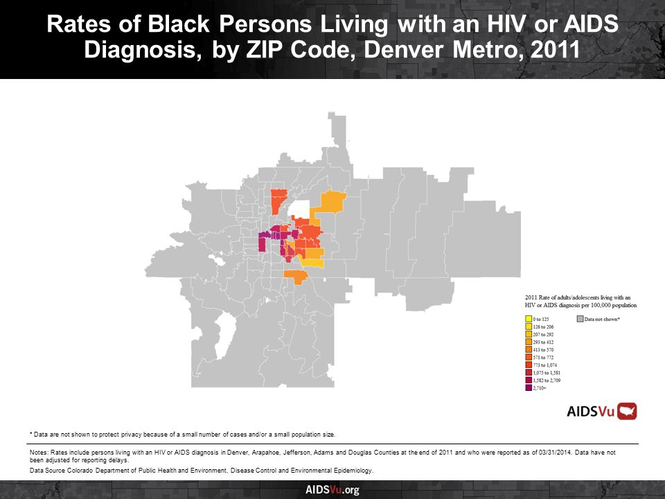 Rates of Black Persons Living with an HIV or AIDS Diagnosis, by ZIP Code, Denver Metro, 2011 Notes: Rates include persons living with an HIV or AIDS diagnosis in Denver, Arapahoe, Jefferson, Adams and Douglas Counties at the end of 2011 and who were reported as of 03/31/2014.