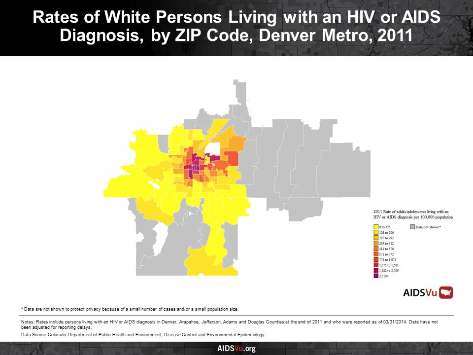 Rates of White Persons Living with an HIV or AIDS Diagnosis, by ZIP Code, Denver Metro, 2011 Notes: Rates include persons living with an HIV or AIDS diagnosis in Denver, Arapahoe, Jefferson, Adams and Douglas Counties at the end of 2011 and who were reported as of 03/31/2014.