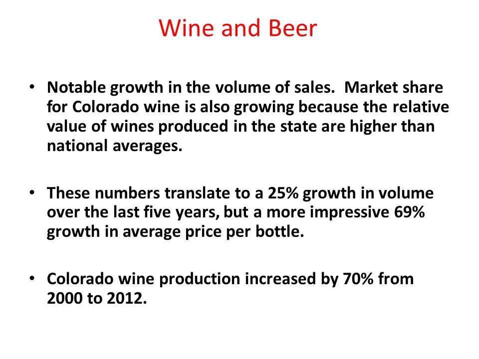 Wine and Beer Notable growth in the volume of sales.