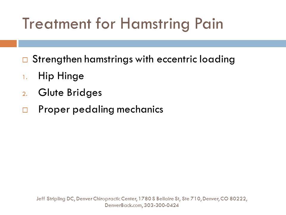 Treatment for Hamstring Pain Jeff Stripling DC, Denver Chiropractic Center, 1780 S Bellaire St, Ste 710, Denver, CO 80222, DenverBack.com, 303-300-0424  Strengthen hamstrings with eccentric loading 1.