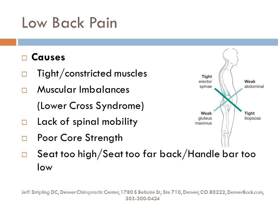 Low Back Pain Jeff Stripling DC, Denver Chiropractic Center, 1780 S Bellaire St, Ste 710, Denver, CO 80222, DenverBack.com, 303-300-0424  Causes  Ti