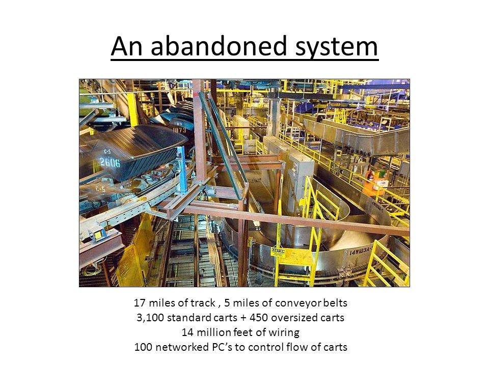 An abandoned system 17 miles of track, 5 miles of conveyor belts 3,100 standard carts + 450 oversized carts 14 million feet of wiring 100 networked PC