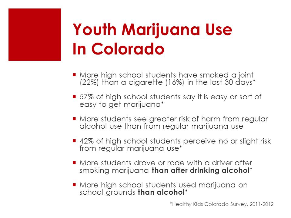  More high school students have smoked a joint (22%) than a cigarette (16%) in the last 30 days*  57% of high school students say it is easy or sort of easy to get marijuana*  More students see greater risk of harm from regular alcohol use than from regular marijuana use  42% of high school students perceive no or slight risk from regular marijuana use*  More students drove or rode with a driver after smoking marijuana than after drinking alcohol *  More high school students used marijuana on school grounds than alcohol * *Healthy Kids Colorado Survey, 2011-2012 Youth Marijuana Use In Colorado
