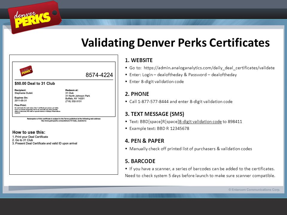 Validating Denver Perks Certificates 1.