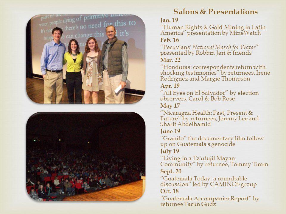 Salons & Presentations Jan.