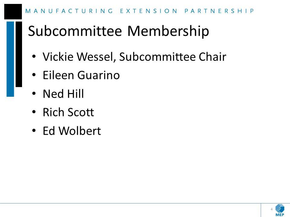 Subcommittee Membership Vickie Wessel, Subcommittee Chair Eileen Guarino Ned Hill Rich Scott Ed Wolbert 4