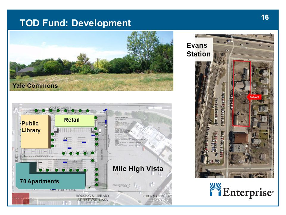 16 TOD Fund: Development 70 Apartments Public Library Retail 16 Yale Commons Mile High Vista Evans Station