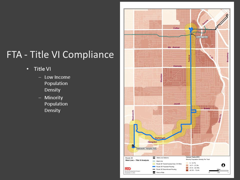 FTA - Title VI Compliance Title VI ‒Low Income Population Density ‒Minority Population Density