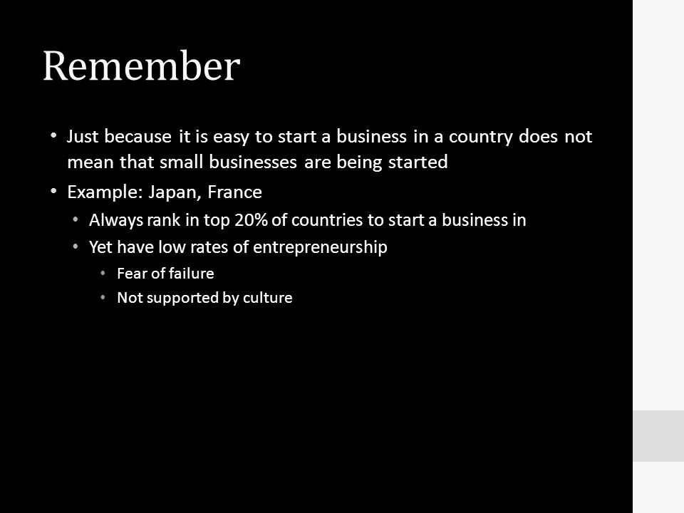 Remember Just because it is easy to start a business in a country does not mean that small businesses are being started Example: Japan, France Always