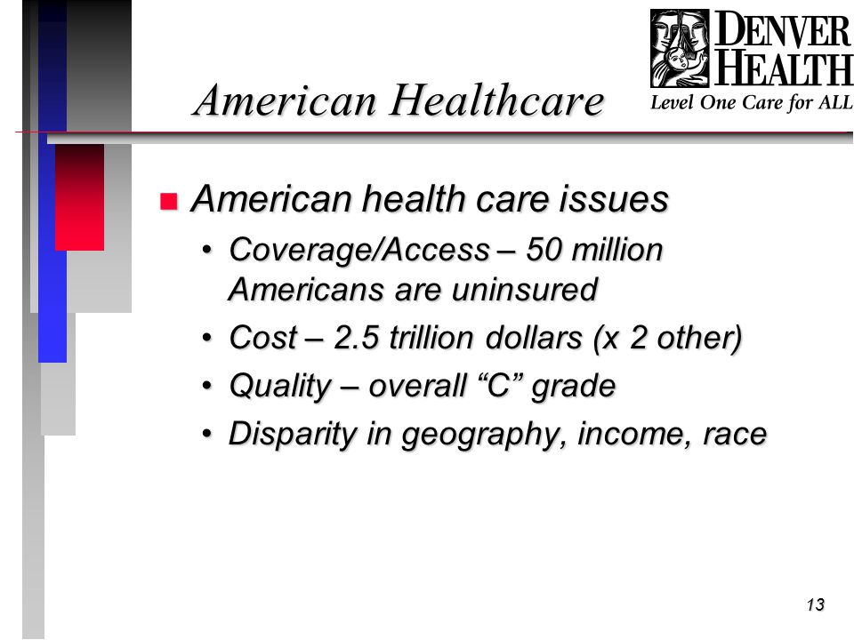 13 American Healthcare n American health care issues Coverage/Access – 50 million Americans are uninsuredCoverage/Access – 50 million Americans are uninsured Cost – 2.5 trillion dollars (x 2 other)Cost – 2.5 trillion dollars (x 2 other) Quality – overall C gradeQuality – overall C grade Disparity in geography, income, raceDisparity in geography, income, race
