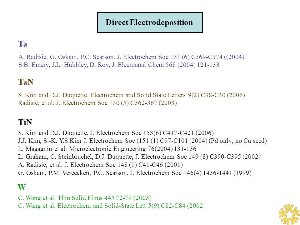 Direct Electrodeposition Ta A. Radisic, G. Oskam, P.C.