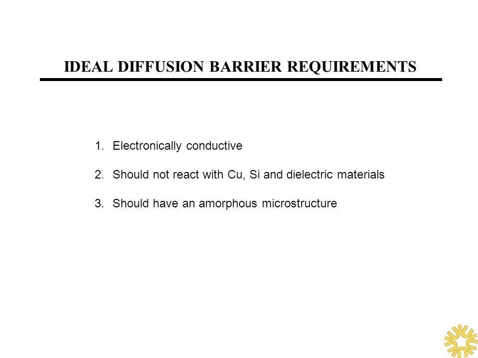 IDEAL DIFFUSION BARRIER REQUIREMENTS 1.Electronically conductive 2.Should not react with Cu, Si and dielectric materials 3.Should have an amorphous mi