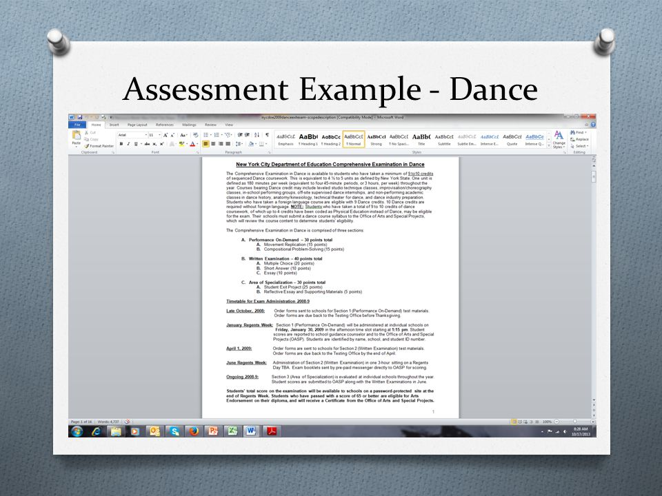 Assessment Example - Dance