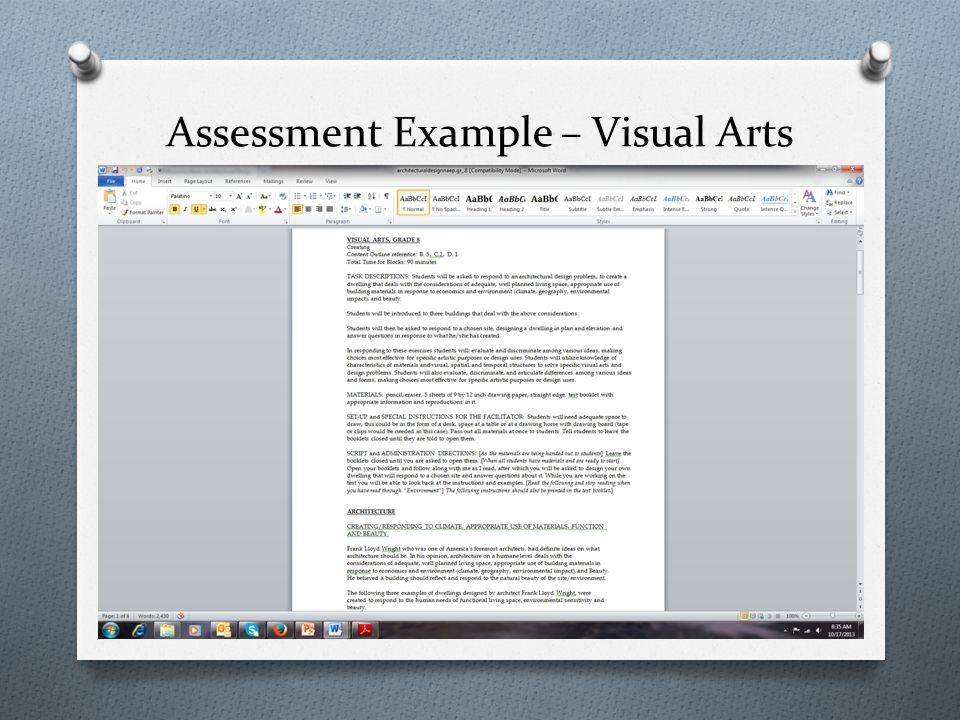 Assessment Example – Visual Arts