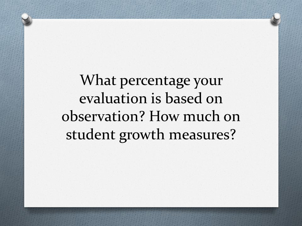 What percentage your evaluation is based on observation How much on student growth measures