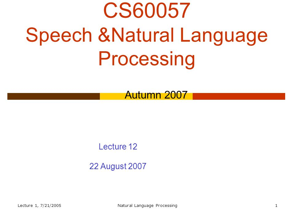 Lecture 1, 7/21/2005Natural Language Processing32 Problems  Agreement  Subcategorization  Movement (for want of a better term)