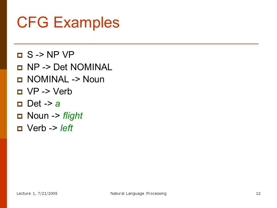 Lecture 1, 7/21/2005Natural Language Processing12 CFG Examples  S -> NP VP  NP -> Det NOMINAL  NOMINAL -> Noun  VP -> Verb  Det -> a  Noun -> flight  Verb -> left