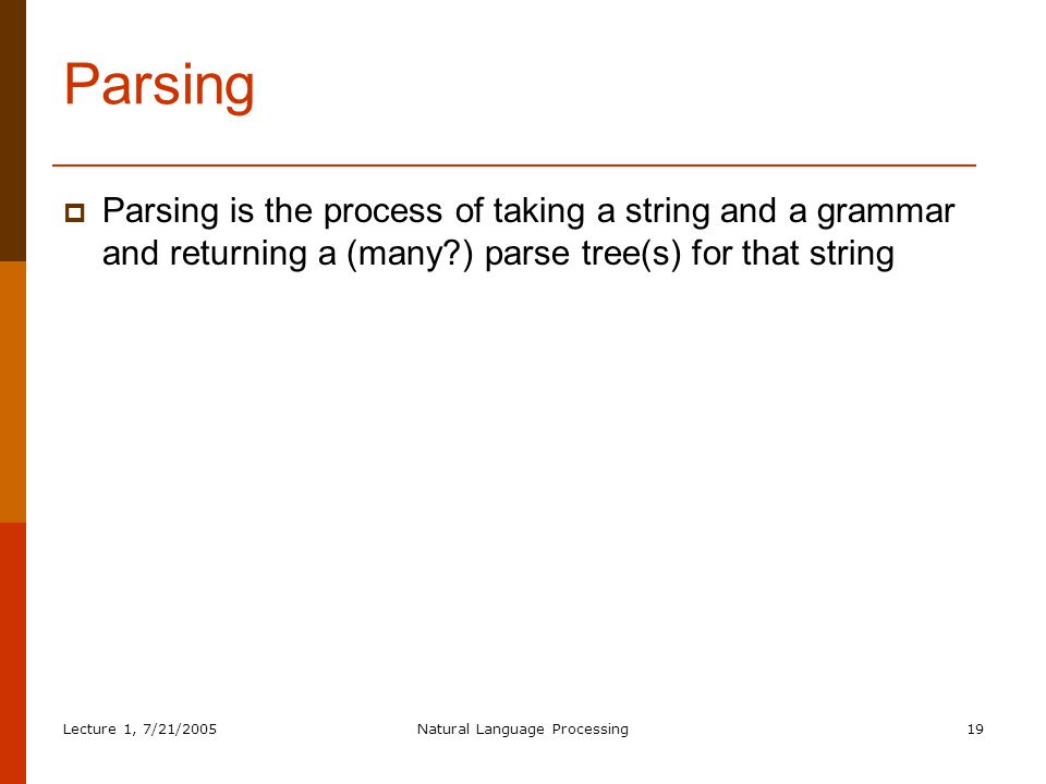Lecture 1, 7/21/2005Natural Language Processing19 Parsing  Parsing is the process of taking a string and a grammar and returning a (many ) parse tree(s) for that string