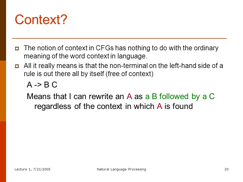 Lecture 1, 7/21/2005Natural Language Processing20 Context.