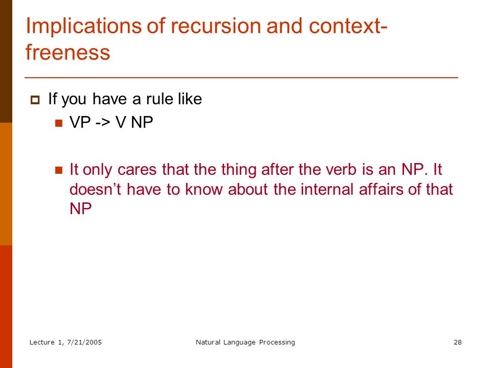 Lecture 1, 7/21/2005Natural Language Processing28 Implications of recursion and context- freeness  If you have a rule like VP -> V NP It only cares that the thing after the verb is an NP.