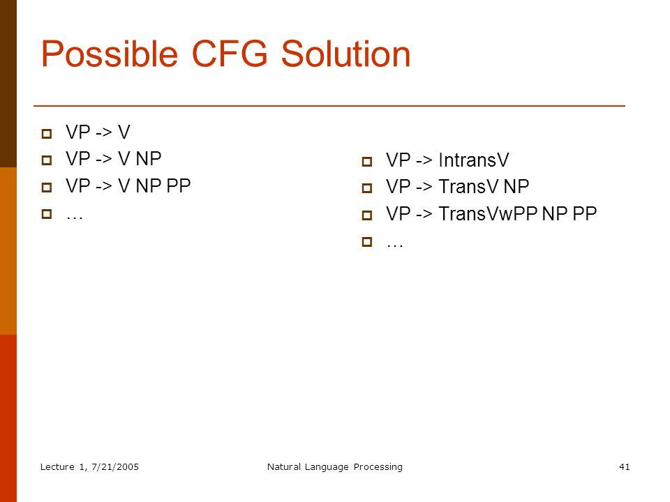 Lecture 1, 7/21/2005Natural Language Processing41 Possible CFG Solution  VP -> V  VP -> V NP  VP -> V NP PP  …  VP -> IntransV  VP -> TransV NP  VP -> TransVwPP NP PP  …