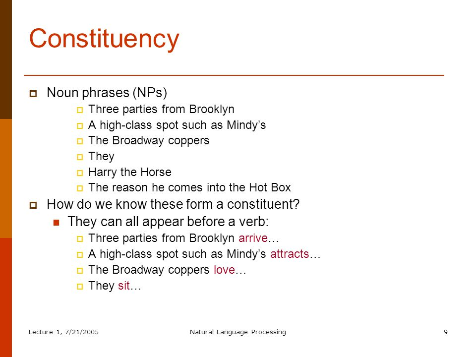 Lecture 1, 7/21/2005Natural Language Processing70 TopDownDepthFirstLeftoRight (IV) flight