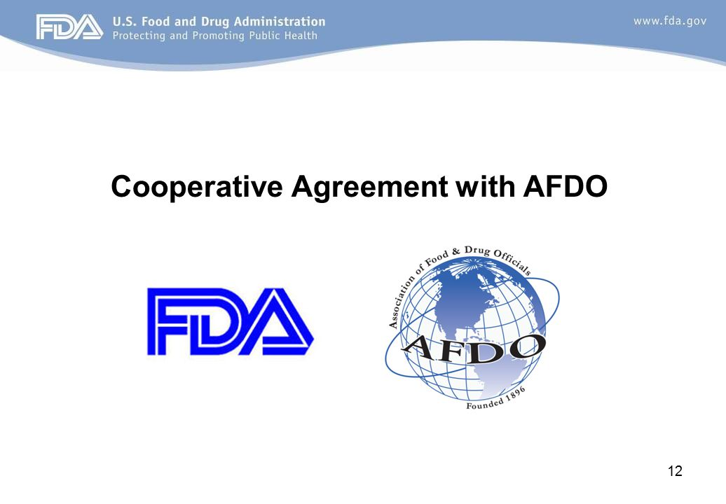 Cooperative Agreement with AFDO 12