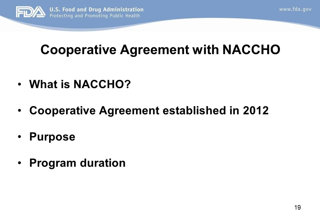 Cooperative Agreement with NACCHO What is NACCHO.