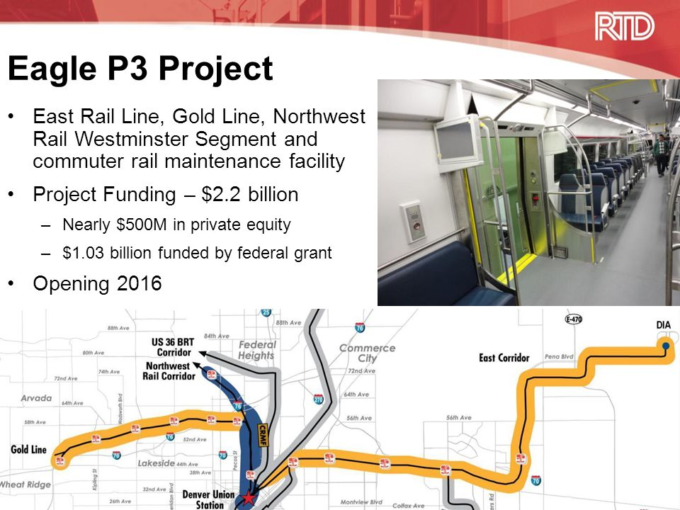 Eagle P3 Project East Rail Line, Gold Line, Northwest Rail Westminster Segment and commuter rail maintenance facility Project Funding – $2.2 billion –Nearly $500M in private equity –$1.03 billion funded by federal grant Opening 2016