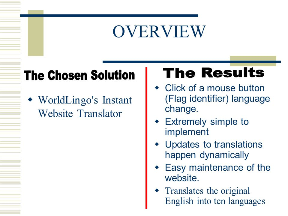 OVERVIEW  WorldLingo s Instant Website Translator  Click of a mouse button (Flag identifier) language change.