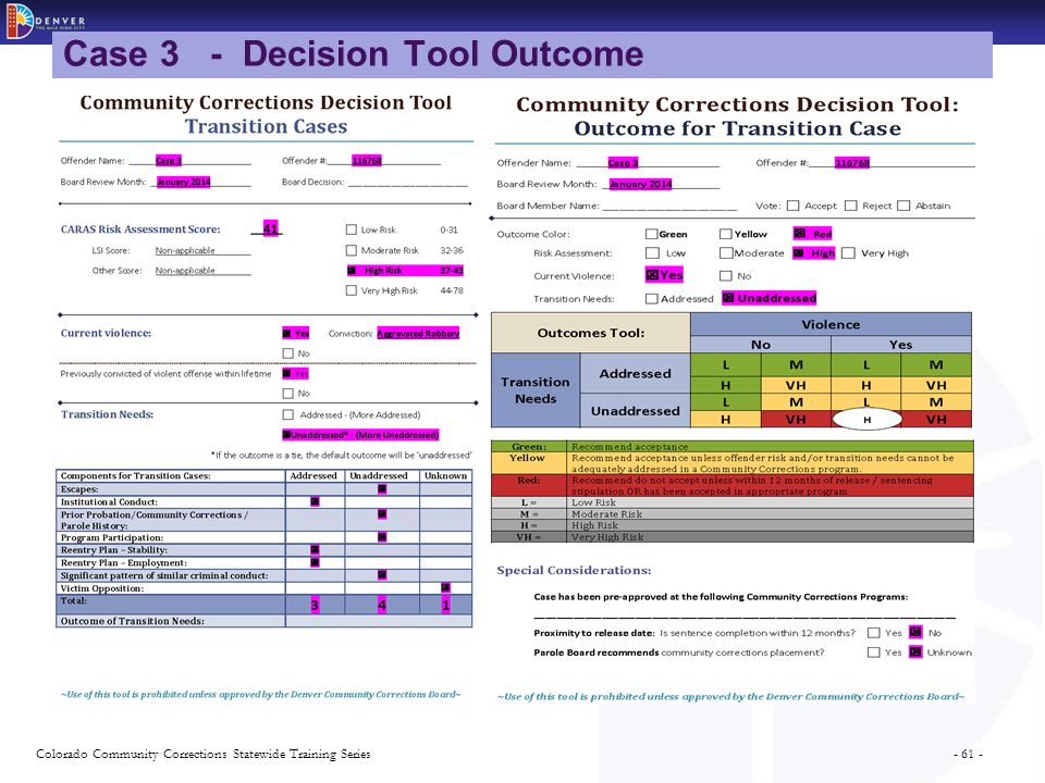 - 61 -Colorado Community Corrections Statewide Training Series Case 3 - Decision Tool Outcome