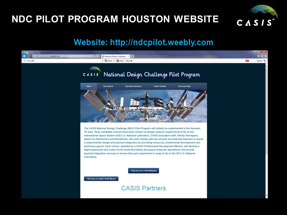NDC PILOT PROGRAM HOUSTON WEBSITE Website: http://ndcpilot.weebly.com