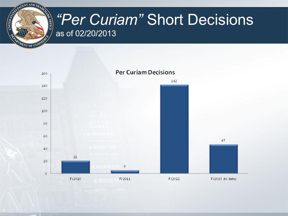 """""""Per Curiam"""" Short Decisions as of 02/20/2013"""