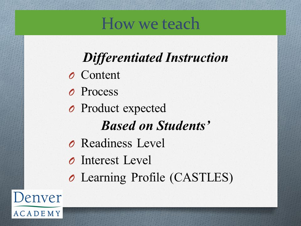 Differentiated Instruction O Content O Process O Product expected Based on Students' O Readiness Level O Interest Level O Learning Profile (CASTLES) H