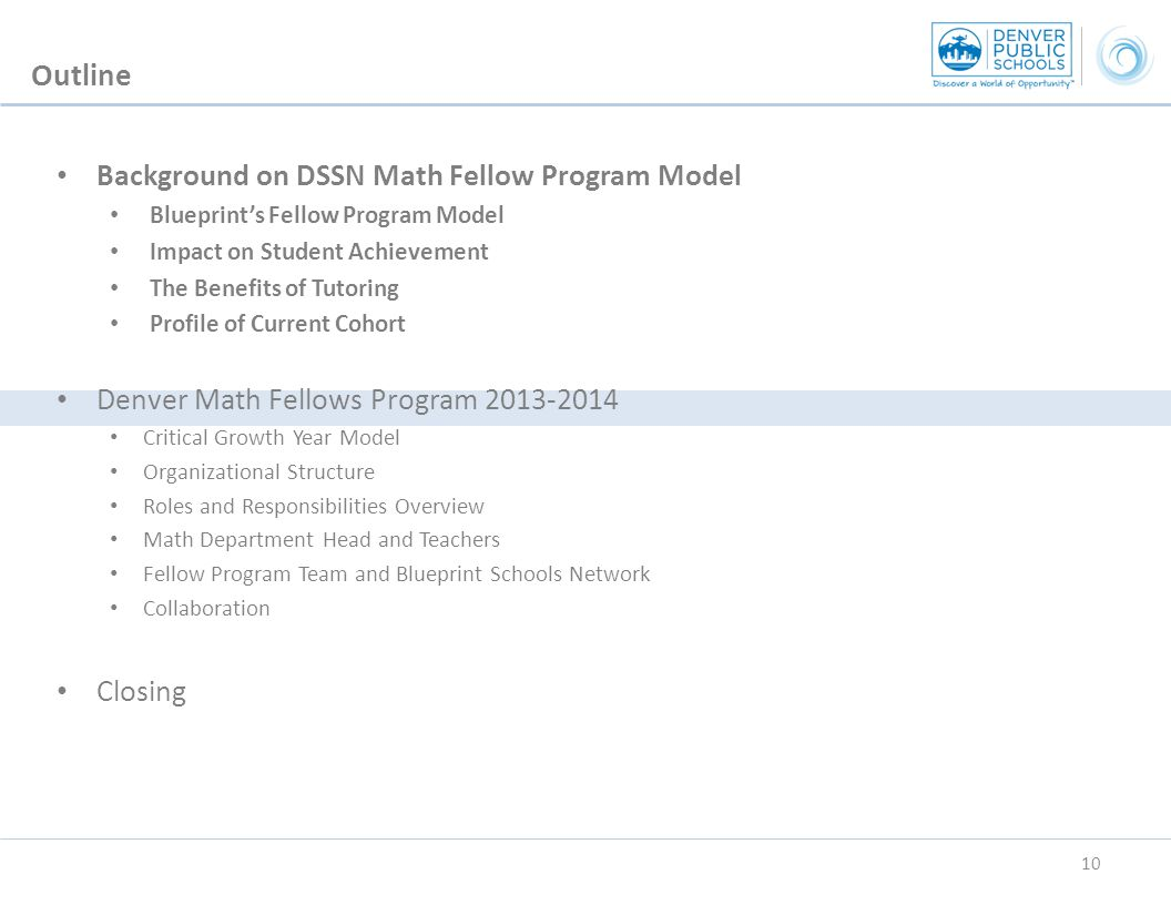 Background on DSSN Math Fellow Program Model Blueprint's Fellow Program Model Impact on Student Achievement The Benefits of Tutoring Profile of Current Cohort Denver Math Fellows Program 2013-2014 Critical Growth Year Model Organizational Structure Roles and Responsibilities Overview Math Department Head and Teachers Fellow Program Team and Blueprint Schools Network Collaboration Closing Outline 10