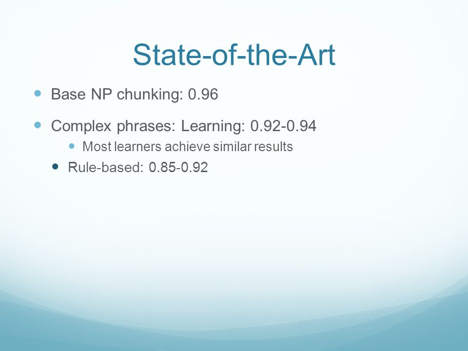 State-of-the-Art Base NP chunking: 0.96 Complex phrases: Learning: 0.92-0.94 Most learners achieve similar results Rule-based: 0.85-0.92